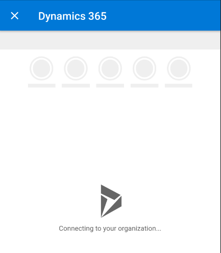 Outlook mobile app - tap Dynamics 365 button - Connecting to your Organization
