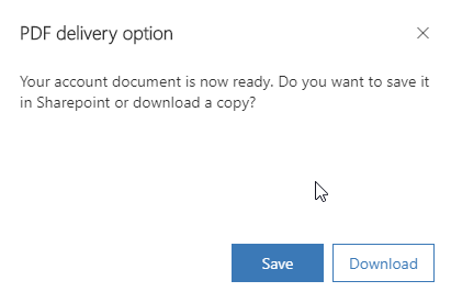 PDF Generation - Save to SharePoint prompt