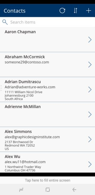 PowerApps mobile search screen 304x625 Getting Started with PowerApps with Dynamics 365