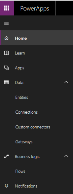 PowerApps site navigation 236x625 Getting Started with PowerApps with Dynamics 365