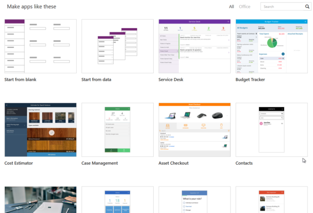 PowerApps site templates 625x426 Getting Started with PowerApps with Dynamics 365