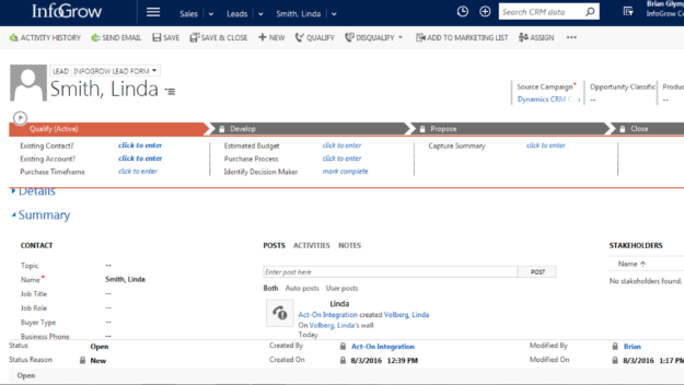 Dynamics CRM Opportunity Example