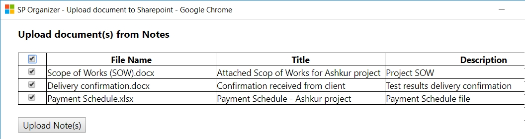 SPO upload Notes Upload documents from CRM to SharePoint, with ONE click !