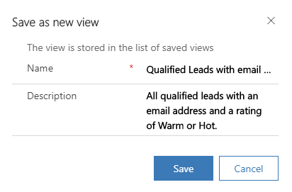Save view from filter options