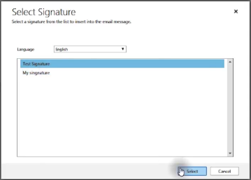Select Email Signature Microsoft Dynamics 365 for Sales CRM