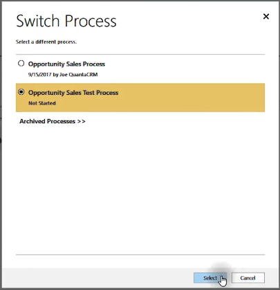 Select Process Microsoft Dynamics 365 for Sales CRM