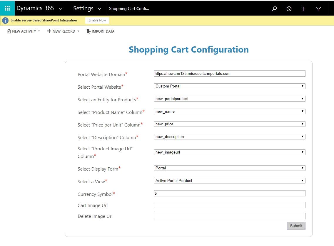 Dynamics CRM Portal Shopping Cart Configuration Wizard - CRM