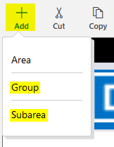Site Map Designer - Add Area Group Subarea