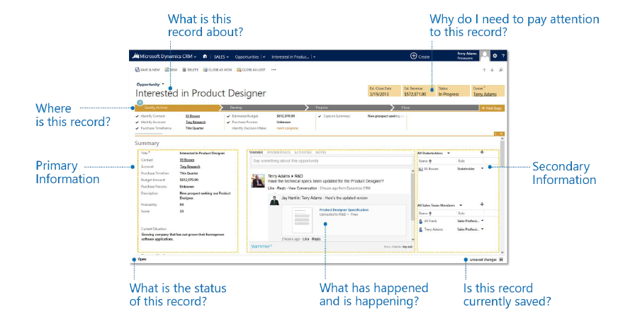 Screenshot depicting Dynamics CRM 2013's newly redesigned user interface