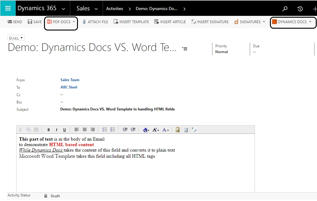 Z1 1 Dynamics CRM Word Templates, issue with HTML fields