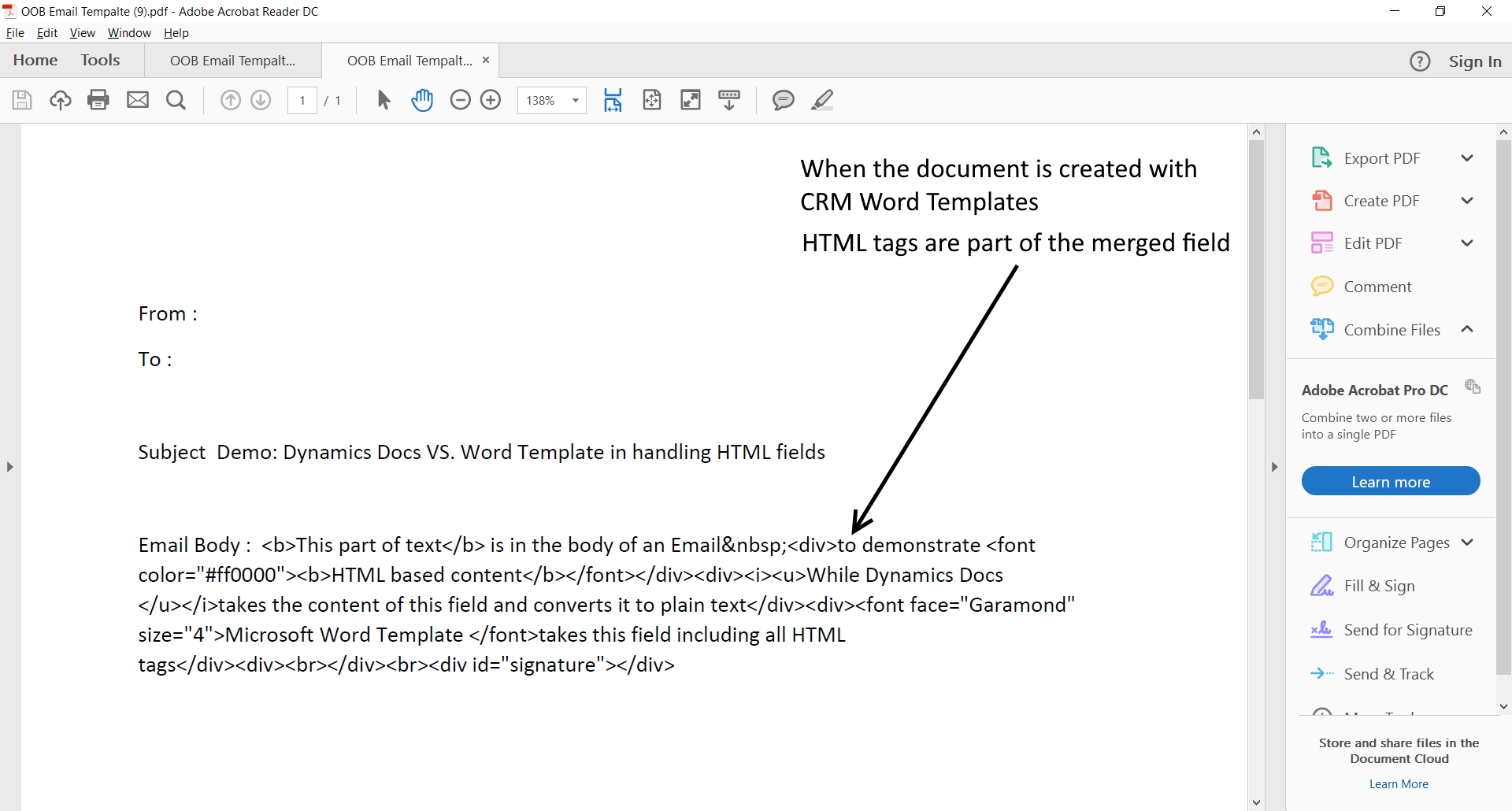 Z2 1 Dynamics CRM Word Templates, issue with HTML fields