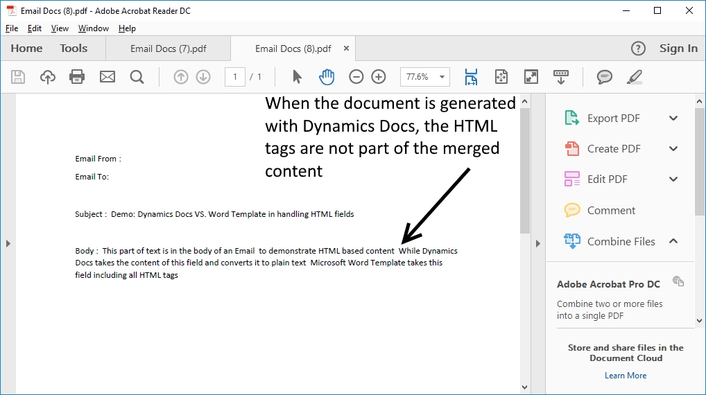 Z3 3 Dynamics CRM Word Templates, issue with HTML fields