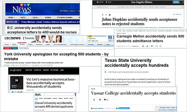 Higher Education admission errors in the news