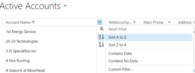 Sorting active accounts in Microsoft Dynamics CRM