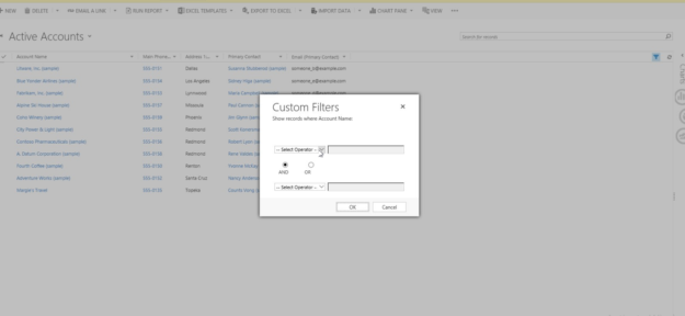 Microsoft Dynamics CRM custom filters