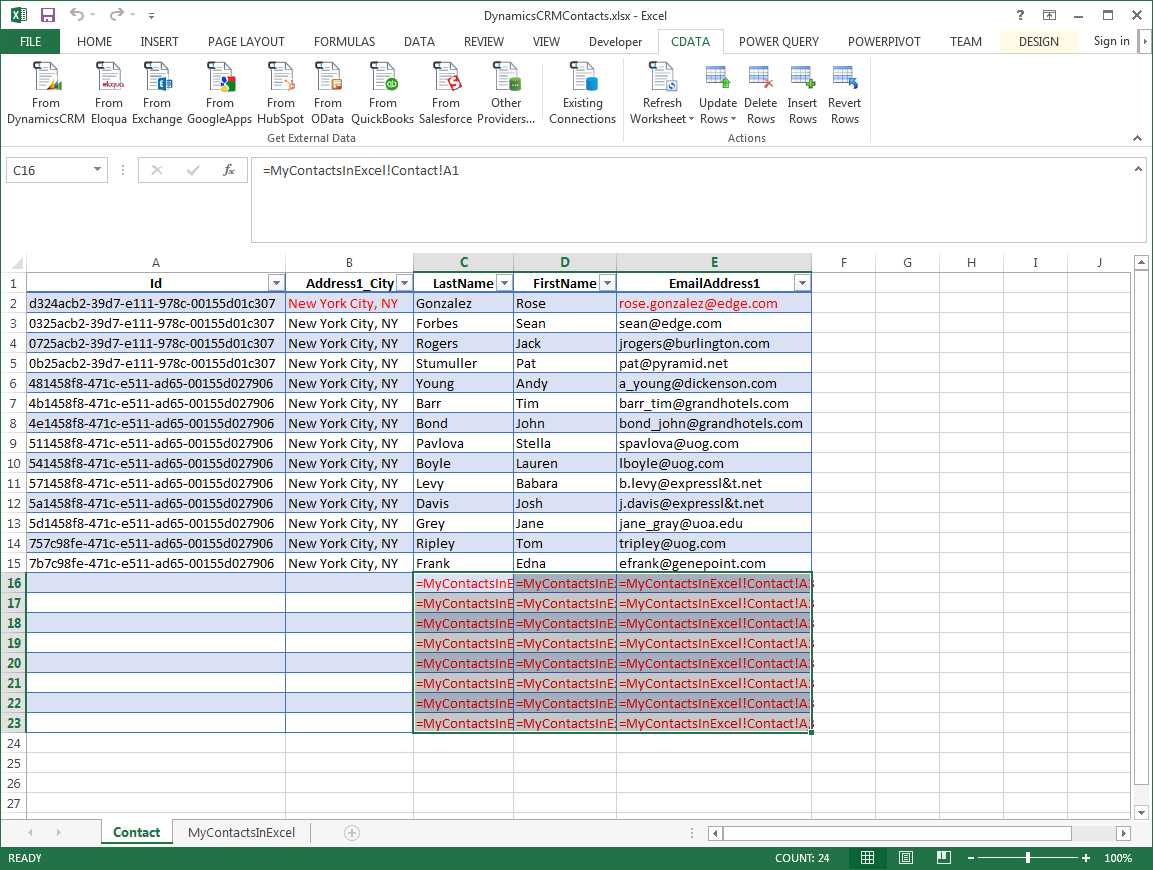 how to get excel to keep a database
