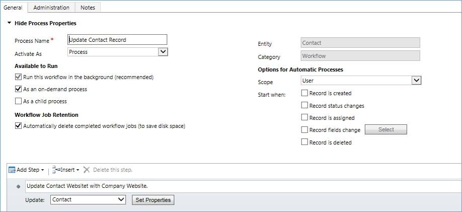 microsoft dynamics crm - create the contact update
