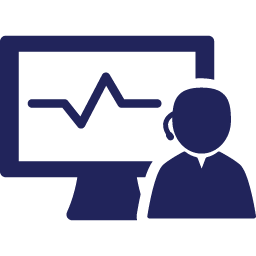 Customer Service Representative in front of CRM Monitor Image