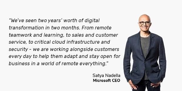 satya nadella quote on digital transformation remote work